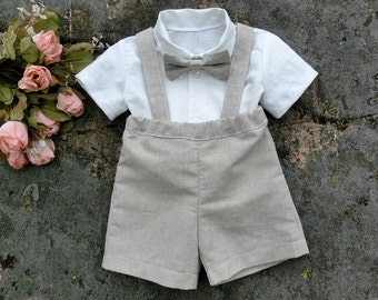 Beach ring bearer outfit, boys linen shorts, shirt, suspenders and bow tie. Baby wedding suit, Toddler boy suit, 6m,9m,12m,18m,2t,3t,4t,5,8