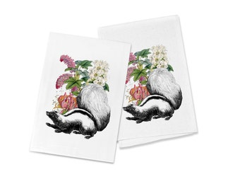 100% Cotton Flour Sack Chef's Kitchen Dish Towel Sweet Vintage Crowned Skunk & Flowers Great Hostess Gift (one towel)