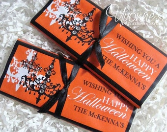 Halloween Candy Bar Wrapper - Chandelier / Vintage Gothic - Chocolate Bar Favor - for Halloween Party / Gothic Wedding / Black & Orange