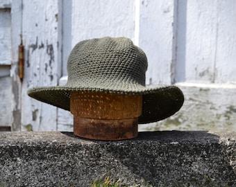 Wide Brim Fall Hat | Hat with Brim | Beach Hat| Crochet Cotton Sun Hat | Made in USA Ecofriendly | Organic Cotton Hat | Green Cotton