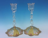 Antique Vintage Westmoreland Bohemian Moser Style Glass Enameled Hand Painted Pair Lotus Tulip Shaped Candle Sticks Candle Holders