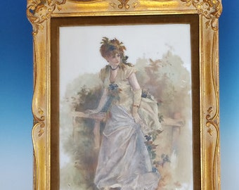 Antique German KPM Style Art Nouveau Victorian Lady Painting Artist Signed Framed On Milk Glass Plaque
