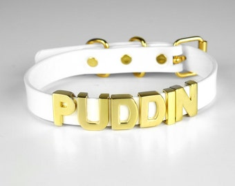 Harley Quinn PUDDIN Choker Replica   Harley Quinn Cosplay   Suicide Squad Movie   Halloween Costume   Comics   Small Letters - GOLD