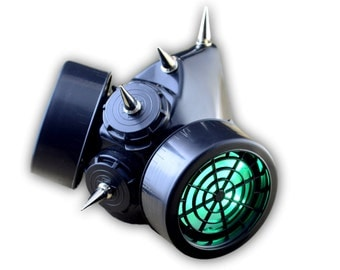 TrYptiX Spiked LED Light Up Cyber Goth Respirator gas mask Steampunk borderlands Overwatch Cosplay EDC Shambhala Electric Forest Ultra Fest