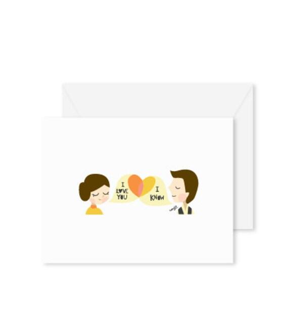 GREETING CARD | I Love You. I Know : Star Wars Modern Illustration Art