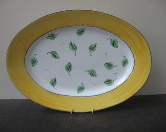 HEREND HUNGARY Pottery Elizabeth Barrett Roache 1993 Yellow Band Serving Platter