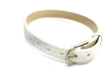 8mm AB White Leatheroid with Sequins and Glitter 8mm Slider Wristband - 8mm Alphabet Slide Letter Band Wristband