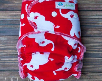 """Cozy Serged Hybrid Fitted Cloth Diaper- """"Elephants on red"""""""