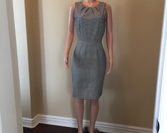 Black and White Hounds Tooth Career Dress