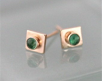Gold Emerald Earrings 14k Yellow Gold Square Studs With 3mm Emerald Gemstones May Birthstone Eco Friendly Recycled Gold