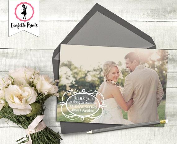 Simple Wedding Thank You Card | Photo Wedding Thank You | Typography Wedding Thank You | Wedding Announcement |  - PURE Printable