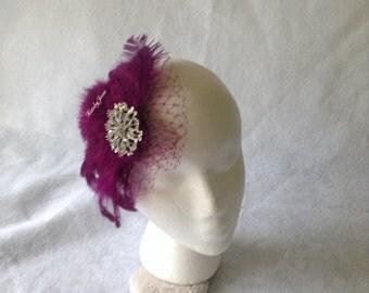 Plum fascinator, plum feather hair comb, bridesmaid hair clip, wedding hair accessories, Gatsby feather fascinator,