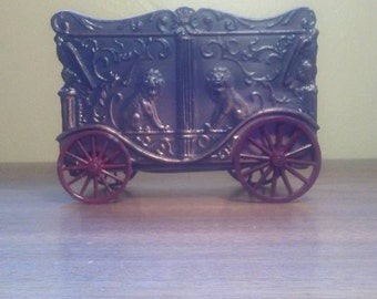 """Advertising Vintage Metal Circus Car with Lions Coin Bank for """"Gate City Savings & Loan"""" Mfg'd by Banthrico Inc"""