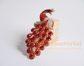 1PCS Red Color Crystal Peacock Alloy accessories handmade material DIY Jewelry supplies