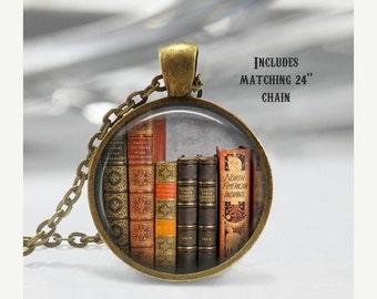 Book Jewelry - Book Necklace - Book Charm - Literary Jewelry - Library Necklace - Librarian Gift - Reader Gift - Book Worm (X11)