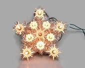 Christmas Star Lighted Tree Topper, Working 11 Blinking White Light Star, Silver Tinsel Star, Holiday Decoration, Wall Hanging