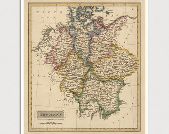 Old Germany Map Art Print 1817 Antique Map Archival Reproduction