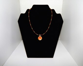 SALE 25% OFF!!  Red, Orange, & Yellow Flower Pendant Necklace