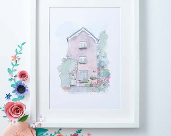 House Portrait - Hand-drawn Illustrated Gift - Customised House portrait