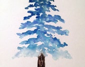 Blue ombre tree with dog