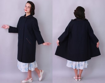 sale | 1960s SWING COAT | Vintage 60s Navy Blue Coat with Rhinestone Buttons | medium