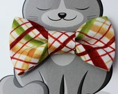 Fall Plaid Dog Bow Tie, Cat Bowtie, Slide on Collar Accessory, Pet Bowties, Yellow, Handmade in Canada, Rust, Cream, Green, Back to School