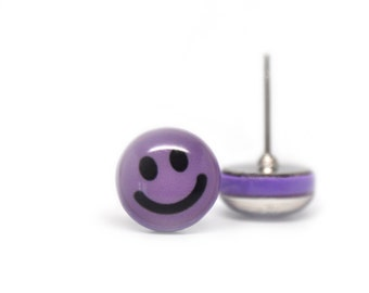 Stud earrings smiley face purple lilac polymer clay 8mm round ear posts