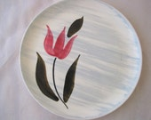 5 Stetson Pink Tulip with Gray Stripes Salad Plates Set of Vintage 1950s