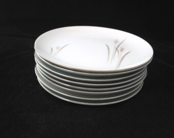 8 Fine China of Japan Platinum Wheat Bread Plates Vintage 1950s / 1960s Max Schonfeld Set of 8
