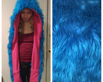 Blue Scoodie with hot pink lining