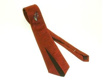 Vintage Mens Red Skinny Tie Narrow Shiny Shark skin type necktie by bonjour Retro Abstract Design