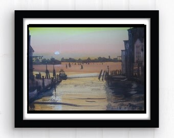 Venice Sunset Original Watercolor Venice Italy Canal Orange Yellow Painting Wall Decor Wall Art Gondolas Docks Water Small Watercolor & ink