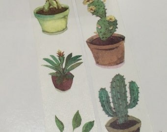 1 Roll of Japanese Washi  Tape (Pick 1)-Green Leaves Plant or Cactus Plant