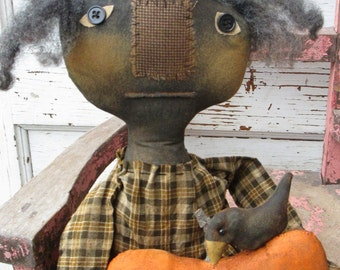 Primitive Grungy Folk Art~Mizz Purdy and Her Pumpkin w/ Crow Doll Set~Hafair Team