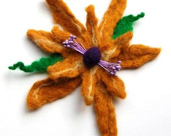 Hand felted flower pin, wet felted wool flower, light brown, purple and green, felt flower hair clip, flower felt pin, corsage, big flower