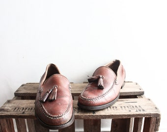 Vintage 1960s Brown Loafers Slip Ons Costume Shoes Leather Dressed Oxfords Size 45