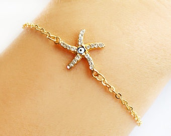 Starfish bracelet, gold starfish, beach wedding, evil eye bracelet, gold chain, best friend gift, gift for her, bridesmaid gift