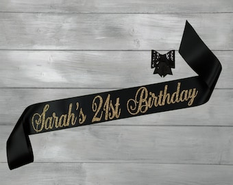 21st Birthday Sash - 21st Birthday - Birthday Sash - Personalized Glitter Sash - Finally Legal
