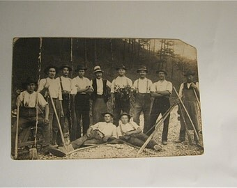 Real Photo Postcard - Unidentified  group of Miners