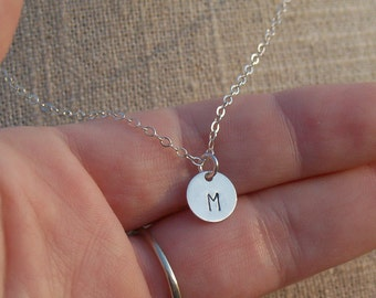 Silver Initial Disc Necklace - Personalized Disc Necklace - Solid 925 Sterling Silver Necklace - Personalized Bridesmaid Gift Necklace