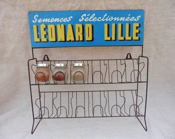 French Vintage , Shop Fitting ,Tole , Tinplate, Very Rare, Old French Shop, French Kitchen, Cuisine, Seed Rack, 1940s