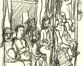 Original Charcoal Drawing, On the #1 Train, NYC. 6x8 Modern Urban Subway Art, New York City Signed Original Contemporary Artwork