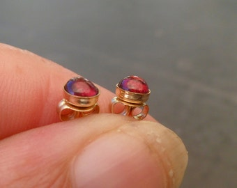 garnet studs, 14k gold fill post, natural garnet gemstone, 4mm cabochon