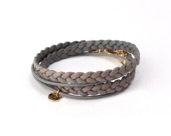 002 Vintage Leather Wrap Bracelet-Blue Grey ブルーグレー