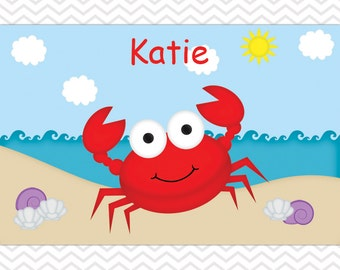 Crab Placemat - Personalized Crab Placemat for Kids - Crab Double Sided Laminated Placemat for Kids
