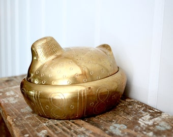 Brass jar, hand carved and cast, jar or jewelry holder.