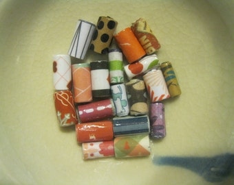 Assorted Hand Rolled Paper Tube Beads: Set of 20