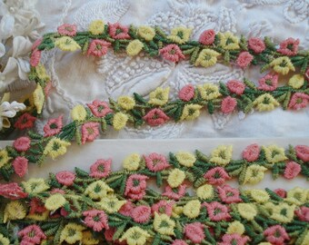1/2y Vintage Schiffli Yellow & Coral Pink Petite Flower Applique Lace Embroidered Trim French Doll Dress Crazy Quilt Ribbon Novelty Sewing