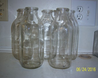 1970's Lot of 5 CLEAR Plain  Quart  Milk Bottles 8 3/8 inches tall No 2