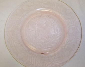 MacBeth Evans Depression Glass Pink THISTLE 8 Inch LUNCHEON PLATE